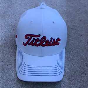 White and red Titleist hat